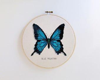 Butterfly cross stitch pattern - Blue Mountain butterfly - modern cross stitch pattern PDF - Instant download