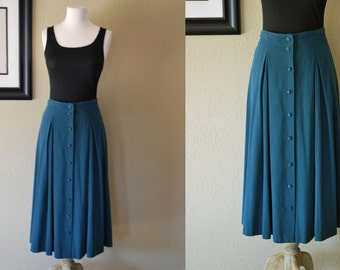 Reserved for Tara Vintage Maxi Skirt 80s High Waisted Button Up Maxi Skirt M