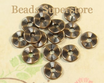 7 mm Antique Copper Wavy Spacer Bead - Nickel Free, Lead Free and Cadmium Free - 40 pcs