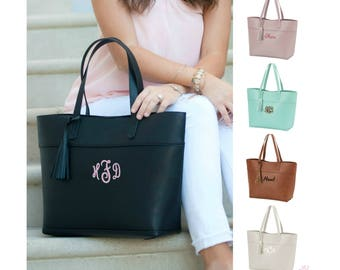 Monogrammed Vegan Leather Bag Monogrammed Handbag Large Personalized Purse Monogram Tote Bag Gold Rose Pink Blush Camel Brown Black Tan