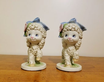 Vintage set of two lamb figurines by Brinns, identical twins lambs ceramic figurines made in the Philippines