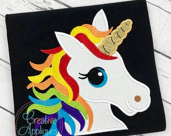 Rainbow Unicorn Digital Machine Embroidery Applique Design 4 sizes, rainbow unicorn applique
