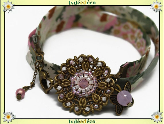 Retro bracelet Pastel prints blush liberty pastel khaki and beige beads Japanese Glass Butterfly brass bronze