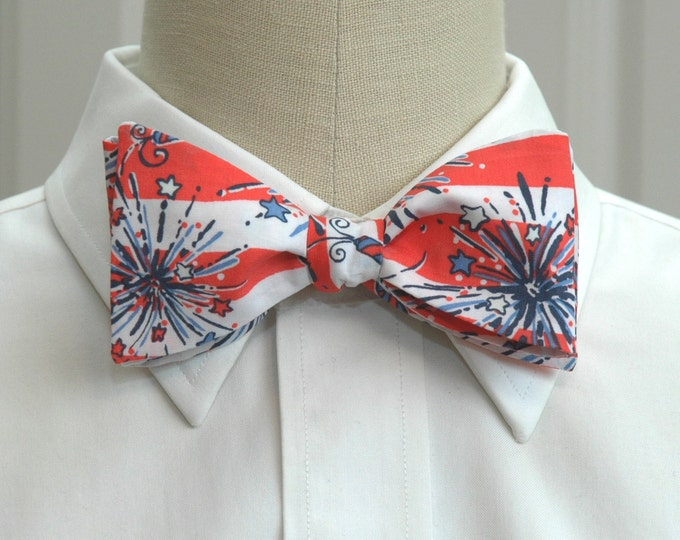 Men's Bow Tie, She's A Firecracker, red, white & blue Lilly print, patriotic bow tie, July 4th bow tie, fireworks bow tie, USA bow tie