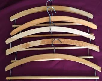 5 x Vintage Wooden Suit/Trouser Coat Hangers believed to be 1950's