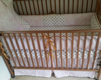 Gold and pink baby bedding set, polka dot gold and pink baby bedding, gold polka dot and pink baby bedding set.