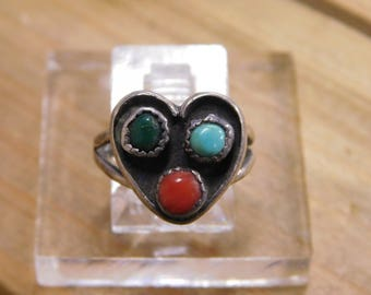 Sterling Silver Heart Shaped Ring Size 4.5