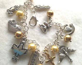 FREE Ship!  Gratitude Charm Bracelet. Thank you Bracelet. Spiritual. Religious. Thank you bracelet  BC 08