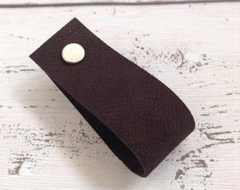 Leather Door Pull Leather Drawer Pull Door Handle Cabinet Pull Drawer Handle Leather Handle Cabinet Handle Cupboard Handle Brown Nubuck