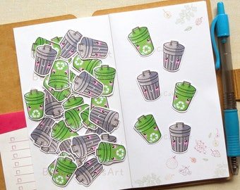 Trash Recycle Stickers [40 Pcs], Planner Stickers, Chore Sticker, Working Sticker, Green Stickers, Functional Sticker, Shopping Sticker, DIY