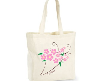 Personalised shopping tote bag - flowers