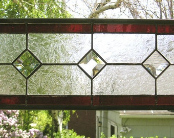 "Stained Glass Window Panel--Red and Clear Textured Transom--6.5"" x  18.5"""