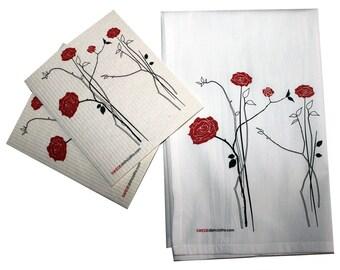 Swedish Dishcloth/Floursack Towel 2 each Red Roses Swedish Dishcloths with 28x29 100% Cotton Floursack Kitchen Towel