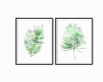 White and Green Fern watercolor Leaves palms wall art Nature Botanical Art Minimalist Modern Home decor art plants Art Fall Tropical Art