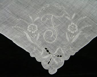 """Vintage Hand Embroidered White on White Monogrammed Monogram """"F""""  Ladies Brides Wedding Handkerchief - 9857"""