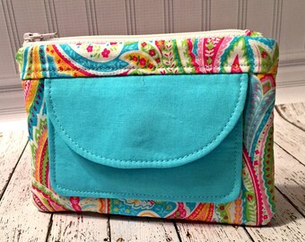 Coin Purse-Light Blue and Pink Paisley Print
