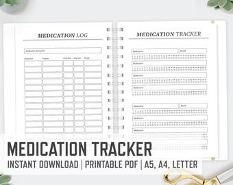 Medication Tracker / A4 A5 Letter / Medication Log Medical History Health Prescription Tracker Medicine Log Printable / INSTANT DOWNLOAD