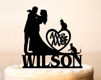 Wedding Cake Topper, Silhouette Cake Topper with cats,Mr and Mrs with cats Cake Topper, Surname Wedding Cake Topper,cat Cake Topper (0201)