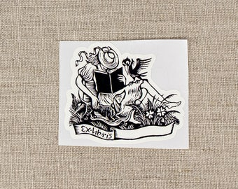 reading girl bookplates - feminine book plates - Ex Libris - girls bookplate stickers - custom book plate - bookworm for her - gift under 20