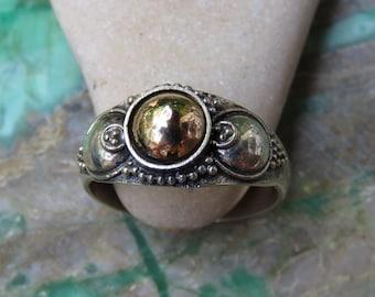 925 Silver//18kt Gold //Bali Ring SR-269-DG