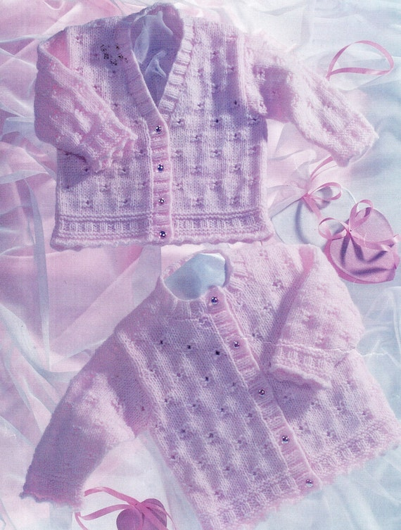 Pdf Baby Knitting Pattern Baby Cardigan 8ply Yarn Multi