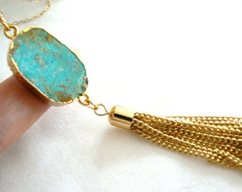 Turquoise gold edge tassel necklace- Boho green blue gemstone pendant- Gold filled chain necklace- Fashion,trendy accessory- Women gift