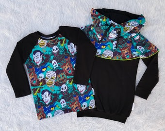 Halloween Boys Set Hoodie Raglan Tee Boys Winter Clothes Boy Fall Clothes Trendy Hipster Outfit Vampire Skulls Werewolves Teal Blue Green