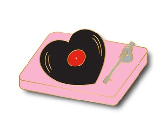 Pre order Heart shaped vinyl record turntable enamel pin