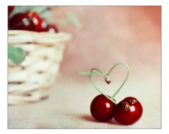 Food Photography Heart Cherry Fine art photography Cherry Kitchen wall art decor Nature Color Photography Still life Fine Art prints Ladybug