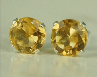 Citrine Stud Earrings Sterling Silver 6mm Round 1.60ctw