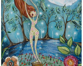 Mother Nature, moon, red hair, river, moon light, stars, flowers - La Luna Pop Surrealism Fine Art Print - by Heather Renaux-unframed