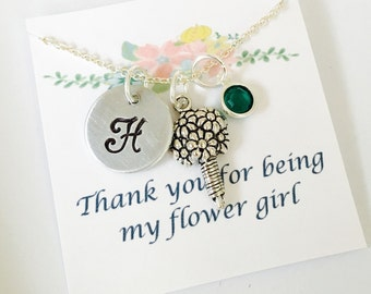 Thank you for being my Flower Girl Necklace, Flower Girl Gift, Flower Girl Necklace, Wedding Necklace, Wedding Jewelry, Personalied