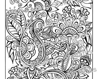 Tangled Flowers Coloring Page JPG
