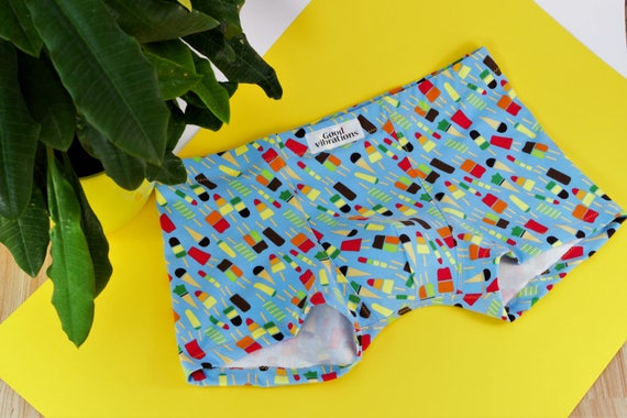 Mens Underwear, Good Vibrations, Oeko-Tex Cotton, Boxer Briefs, , Gift for Him, Style Red Ice Cream #IceLollyRed