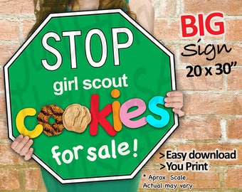 Girl Scout Cookies STOP Sign Cookie Booth Printable JUMBO GREEN 20x30 and  Girl Scouts Cookie Booth Decor Banner Supplies