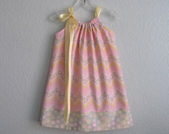 Girls Chevron Stripe Easter Dress - Pink Easter Dress with Yellow and Grey - Stripes & Flowers - Size 12m, 18m, 2T, 3T, 4T, 5, 6, 8, or 10