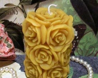 Beeswax Rose Pillar Candle