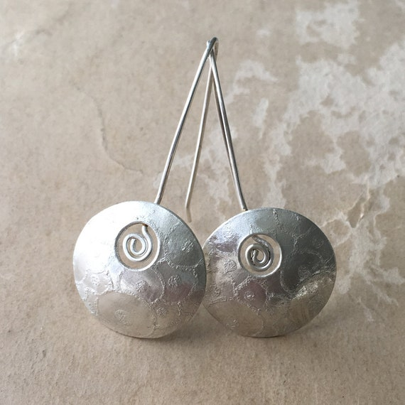 Silver Spiral Earrings, Circle Jewelry, Domed Earrings