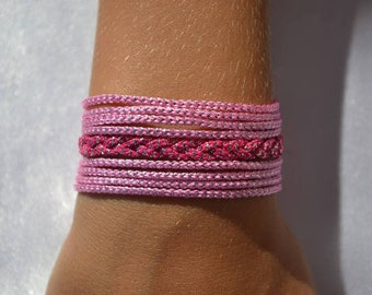 Pink and silver Cuff Bracelet