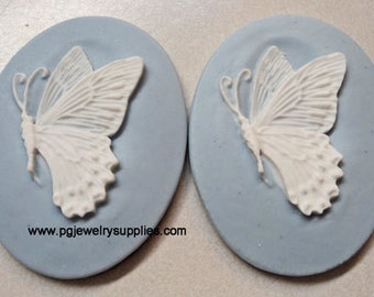 40mm x 30mm butterfly cameos white on blue NEW ...2 pieces