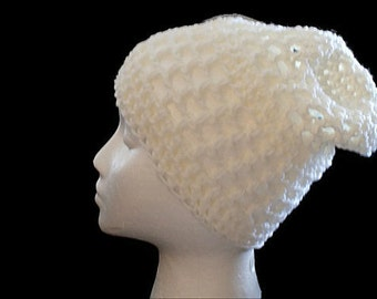 White Kids Hat, Childs Cloche, Crochet Cloche Hat, Kids Beanie, White Crochet Hat, Childs Winter Hat, Kids Slouch Hat, White Mesh Hat