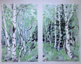Aspens I and Aspens II, Prints of Original Acrylic Impressionistic Landscape Paintings
