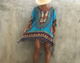 Bohemian beach poncho beach festival boho ,summer kimono,plus size,big size women,Tassel,holiday,evening dress,Turkey blue
