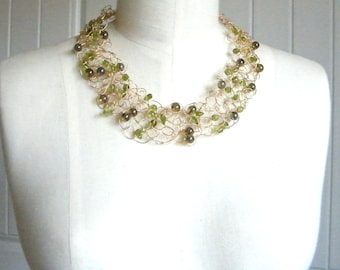 Peridot Necklace Green and Gold Necklace, Gold Necklace, Bridal Necklace, Mother of the Bride, Crochet Necklace, Special Occasion