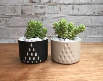 Black and white A line succulent planter set - made to order - succulent planter set - small planters - ceramic planter - modern  minimalist