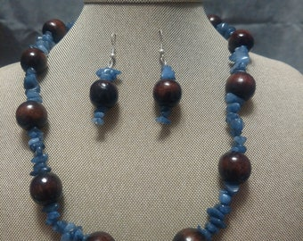 Blue Aventurine and Wood Two Piece Set