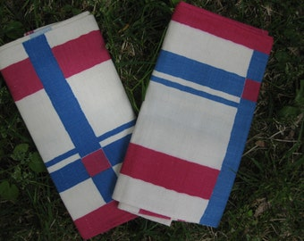 Vintage Kitchen Cotton Towels Pink and Blue Plaid New Old Stock