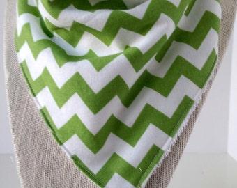 Bandana Bib - Cotton/Bamboo - Cotton/Terry cloth - Chevron Spring Green