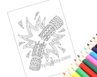 Printable Christmas Holiday Coloring Page, Zentangle Inspired Christmas Cracker. Christmas Arts and Crafts. Holiday Activity