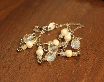 Vintage Silver Tone Avon Necklace With AB Crystal and Faux Pearl Beads